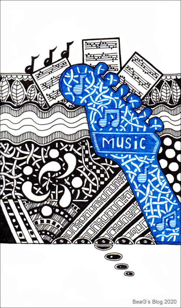 Doodle line drawing in black and blue on white, with Music theme.
