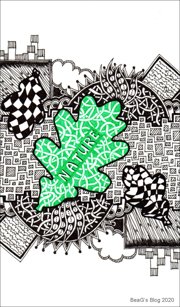 Doodle line drawing in black and green on white, with Nature theme.